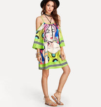 Load image into Gallery viewer, Boho Floral Print Off Shoulder Spaghetti Strap Beach Midi Dress