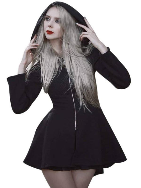 Gothic Women Long Sleeve Zipper Hooded Dress A Line Long Hoodie Outerwear