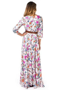Boho Floral Sexy V-neck Sleeve Maxi Chic bohemi Long Dress