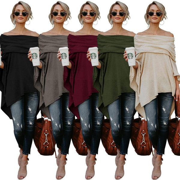 Solid Color Off Shoulder Irregular Tops