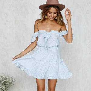 Off Shoulder Backless Casual Short Mini Dress