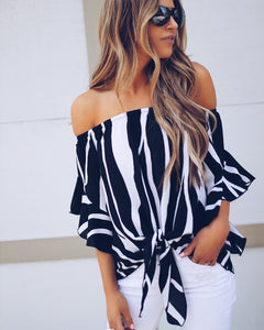 Fashion Sexy Slim Women Loose Chiffon Mid-Sleeve Shirt