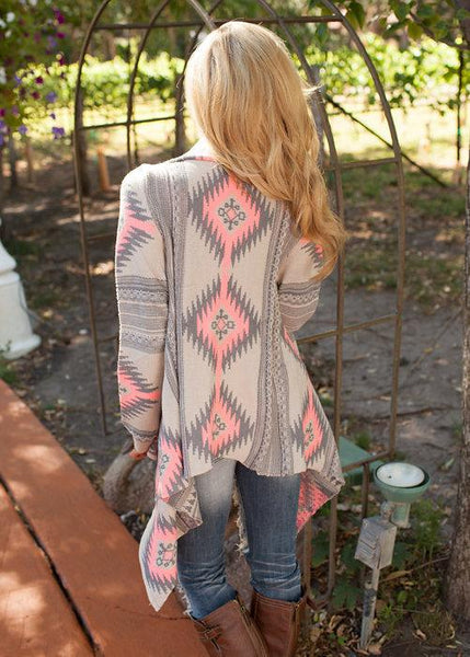 Knit Print Long Sleeve Outwear Tops