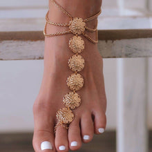Load image into Gallery viewer, Boho Vintage Ethnic Carved Flower Plate Foot Chain Anklet Accessories