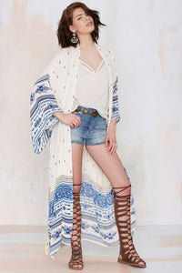 Shemed White Treasure Print Edgy Beach Dress Loose  Holiday Cardigan Tanning Hoodie Blouse