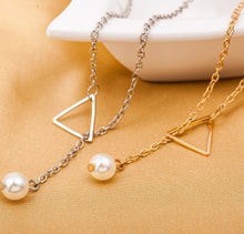 Load image into Gallery viewer, Simple Openwork Triangle Adjustable Pearl Pendant Women's Necklace Bone Chain