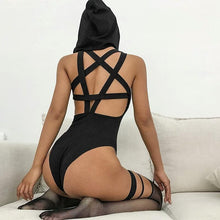 Load image into Gallery viewer, Gothic Hooded Women Sexy Sleeveless Backless Pentagram Hollow Out Black Bodysuits