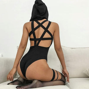 Gothic Hooded Women Sexy Sleeveless Backless Pentagram Hollow Out Black Bodysuits