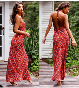 Boho Sexy Floral Halter Spaghetti-Strap Backless Long Dress