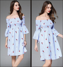 Load image into Gallery viewer, Off Shoulder Flower Embroidered New Casual Mini Dress