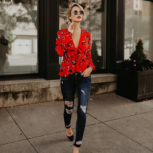 Floral Red Long Sleeve V-Neck Autumn Shirt Tops