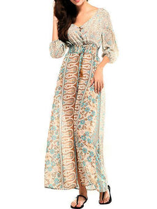 Attractive Bohemia 3/4 Sleeve Front Split Beach Dress Maxi Dress