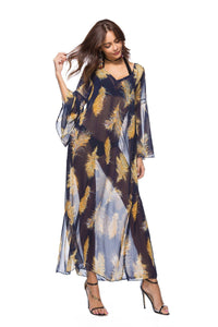 2018 new arrival Loose printed dress speaker sleeve large size women s clothing