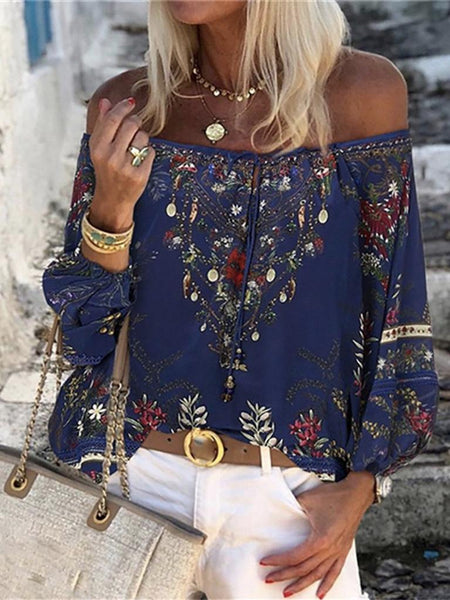 Floral Print Blouse Women Lace Thin Long Sleeve Off Shoulder Summer Tops Shirts