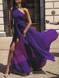 SEXY CHIFFON ONE SHOULDER SOLID COLOR MAXI DRESS