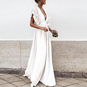 Solid Color Deep V Neck Backless Maxi Dress