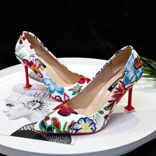 Load image into Gallery viewer, Pointed Heels High Heel Stiletto Flowers Retro Embroidery Shoes