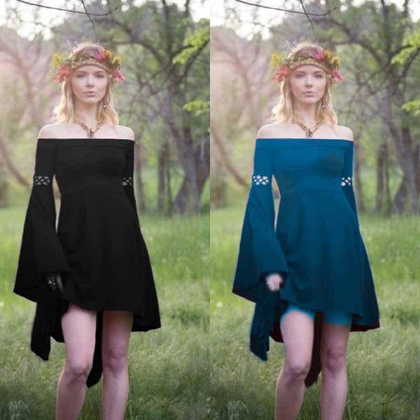 Off Shoulder Long Flared Sleeve Solid Color Mini Dress
