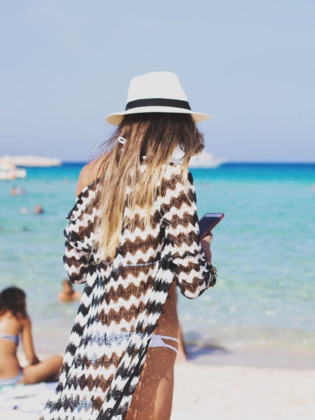 The Wave Striped Lace Beach Skirt Beach Vacation Dress Bikini Blouse Beach Sun Shirt