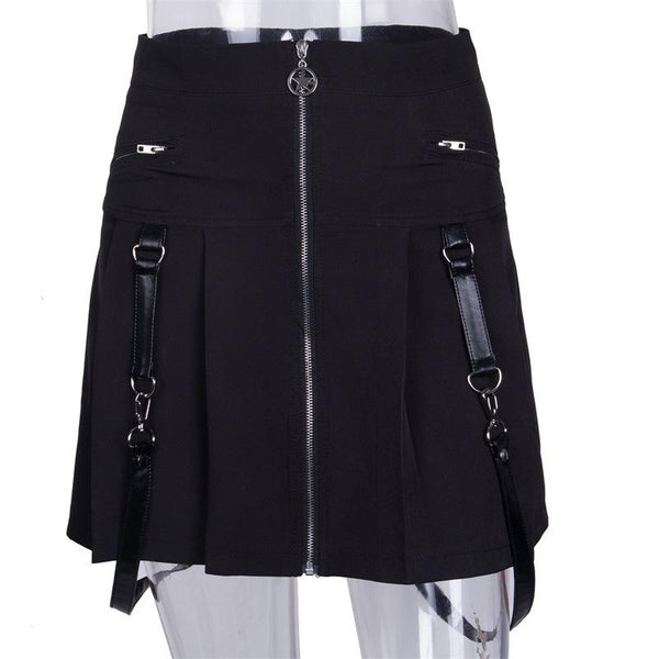 Street Zipper Suspender Pleated Skirt