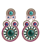 Load image into Gallery viewer, Exaggerated Diamonds Ripples Ethnic Style Bohemian Style Earrings