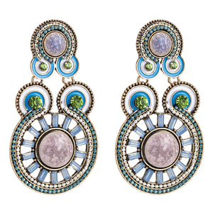 Exaggerated Diamonds Ripples Ethnic Style Bohemian Style Earrings