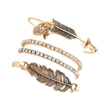 Load image into Gallery viewer, Boho Retro Golden Arrow Leaf Feather Drill Chain Bracelet Set