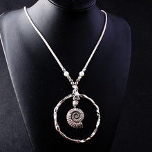 Load image into Gallery viewer, Bohemian Wind Velvet Rope Infinite Ring Large Conch Sweater Chain Shell Leather Ring Necklace