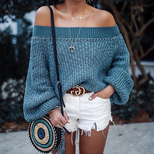 Knit Off Shoulder Long Sleeve Autumn Sweater