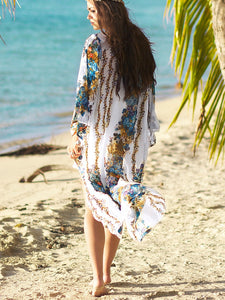 Chiffon Printed Bikini Outer Cover Sunscreen Cardigan Cover Up