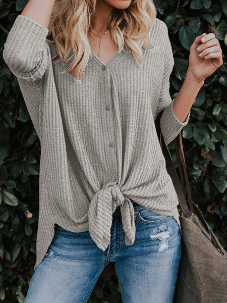 Knit V Neck Long Sleeve Solid Color Top Blouse