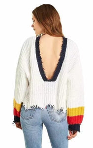 Solid Color Long Sleeve Deep V Neck Tassels Sweater
