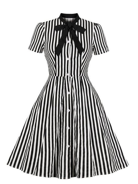 Vintage Stripe Women Summer Bow Collar Stylish Goth Ladies Retro Rockabilly Midi Dress