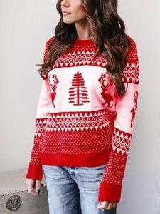 Autumn And Winter New Christmas Geometry Elk Jacquard Sweater