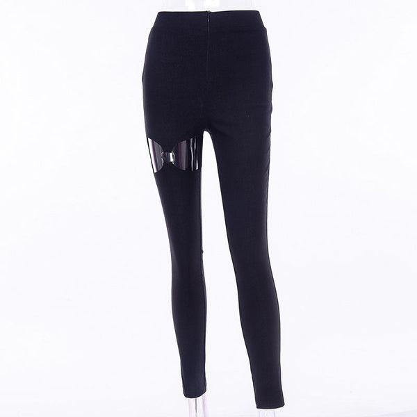 Dark Style Hole Ring Sexy Casual Pants