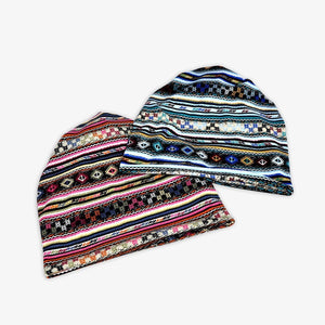 Casual Baggy Slouchy Four Seasons Cotton Geometric Pattern Adult Hat Infinity Scarf