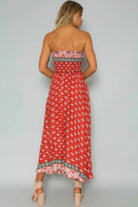 Red Floral Summer Sexy Off Shoulder Strapless Elastic Long Dress