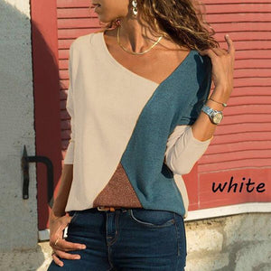 Stitching Contrast Color Round Neck Long Sleeve Casual T-Shirt Top