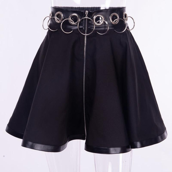 Dark Iron Loop Hollowed-out Zipper Skirt