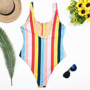 Bikini Swimming Suite Striped Conjoined Swimwear
