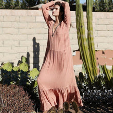 Load image into Gallery viewer, Autumn And Winter Vintage Long-Sleeved Bohemian Solid Color Beach Long Dress