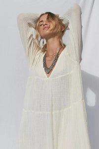 Autumn And Winter Vintage Long-Sleeved Bohemian Solid Color Beach Long Dress