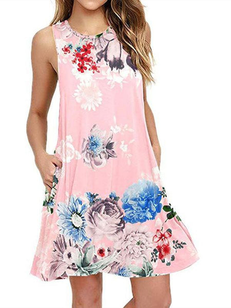Spring / Summer Sleeveless Pullover Element Printed Pocket Swing Vest Dress-2