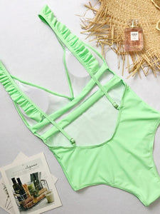 One-piece Sexy V Neck Ruffles Bikini Sets Beach Swimwear