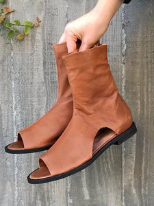 Solid Color Open Toe Flats Boots Shoes
