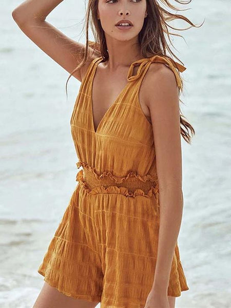 Summer Sexy Yellow Strap Stitching Jumpsuit Women
