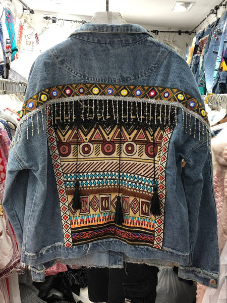 National Wind Embroidery  Old Water-washing and Denim Jacket.