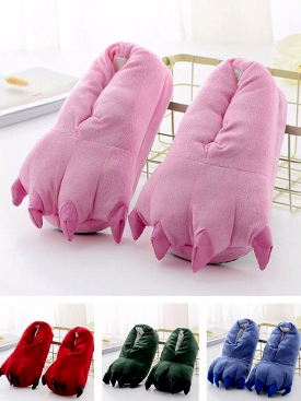 Kigurumi Slippers Boy Girl Adult Onesie Pajama Shoes Children Cartoon Unicorn Tiger Pikachu Paw Winter Warm Animal Claw