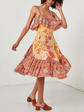 Load image into Gallery viewer, Spaghetti Strips Ruffles Floral Summer Dress Boho Midi Dress