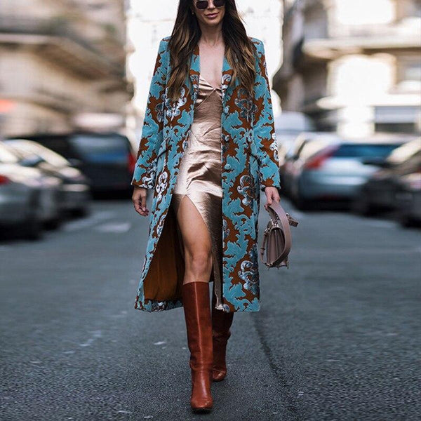 Coat Female  Winter Jacket For Women Vintage Floral Print Embroidery Long Cardigan Coat Ladies Elegant Wool Blends Outerwear
